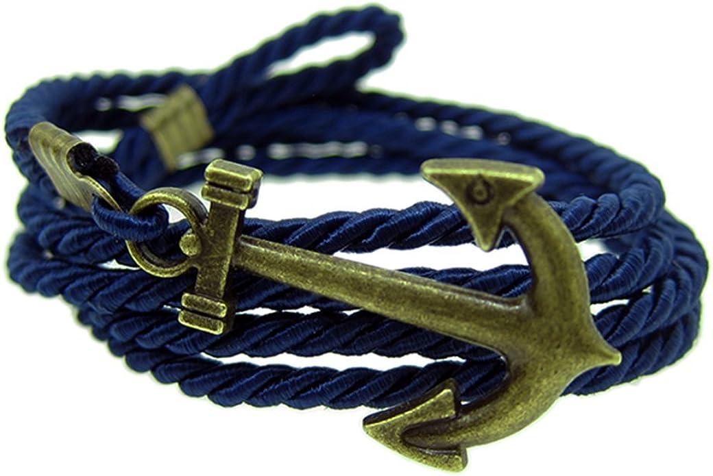 UA48 - Pulsera de ancla de bronce azul para hombre y mujer, con cordón: Amazon.es: Joyería