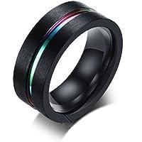 Daesar Stainless Steel Ring for Men Rings 8MM Blue Stripe Black/Silver Rings With Free Engraving