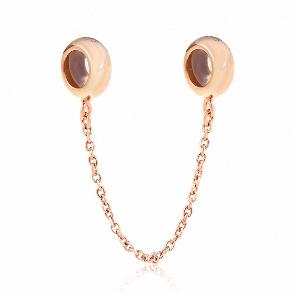 Soulbeads Safety Chain Rubber Stopper 925 Sterling Silver Charms for Snake Chain Bracelets (rose gold)