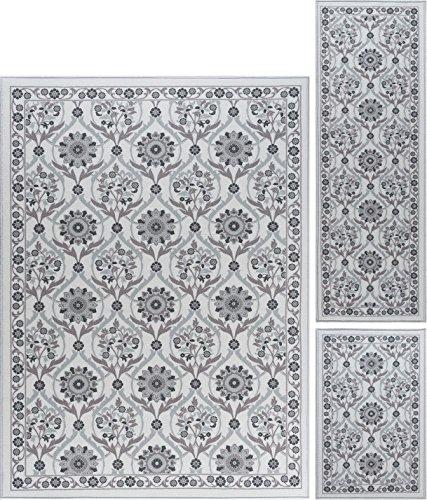 Eliza Transitional Floral Ivory Non-Skid 3-Piece Area Rug Se