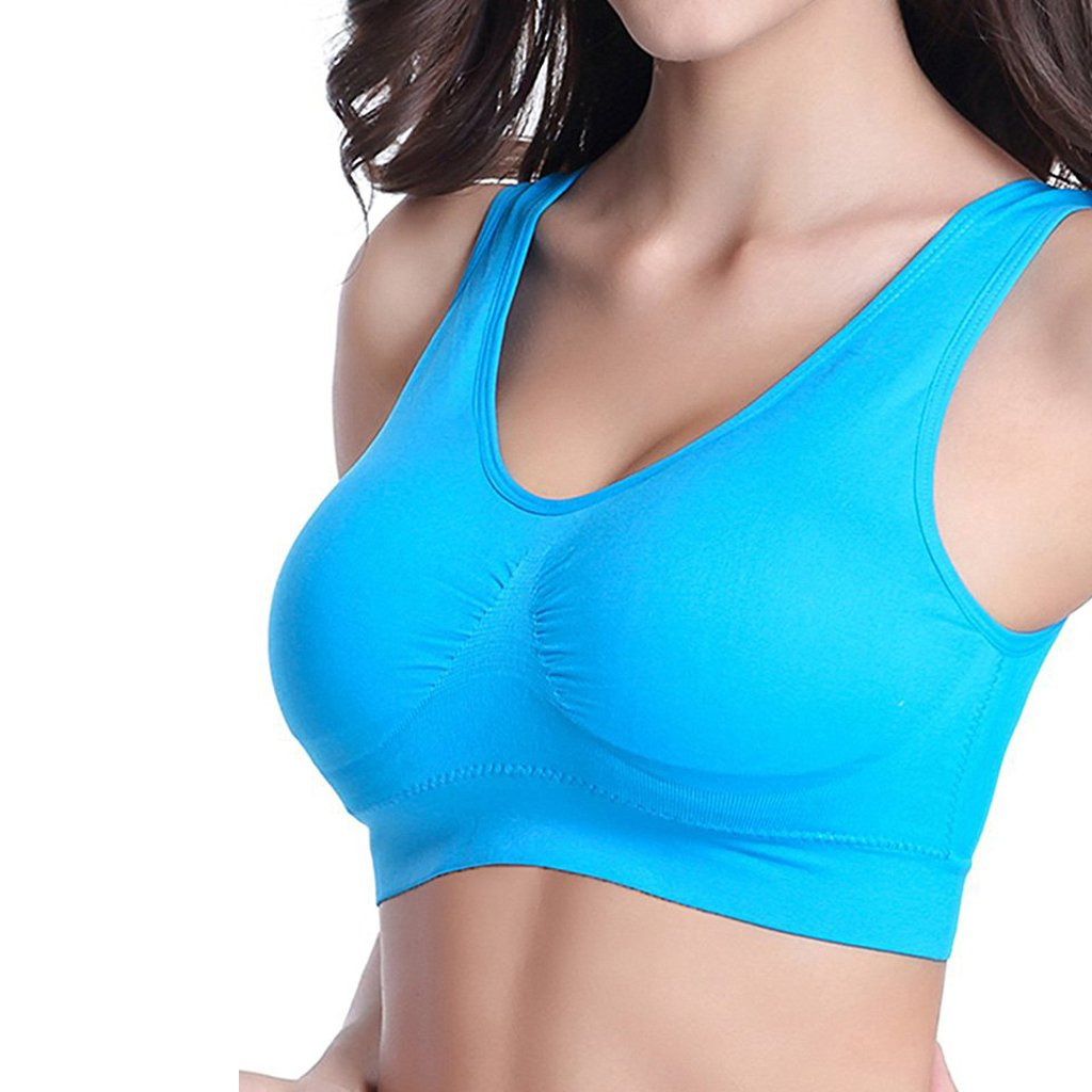Cocobla 1/3/6 Pack Womens Wireless Racerback Sports Bra Yoga Tops with Removable Pads 002021