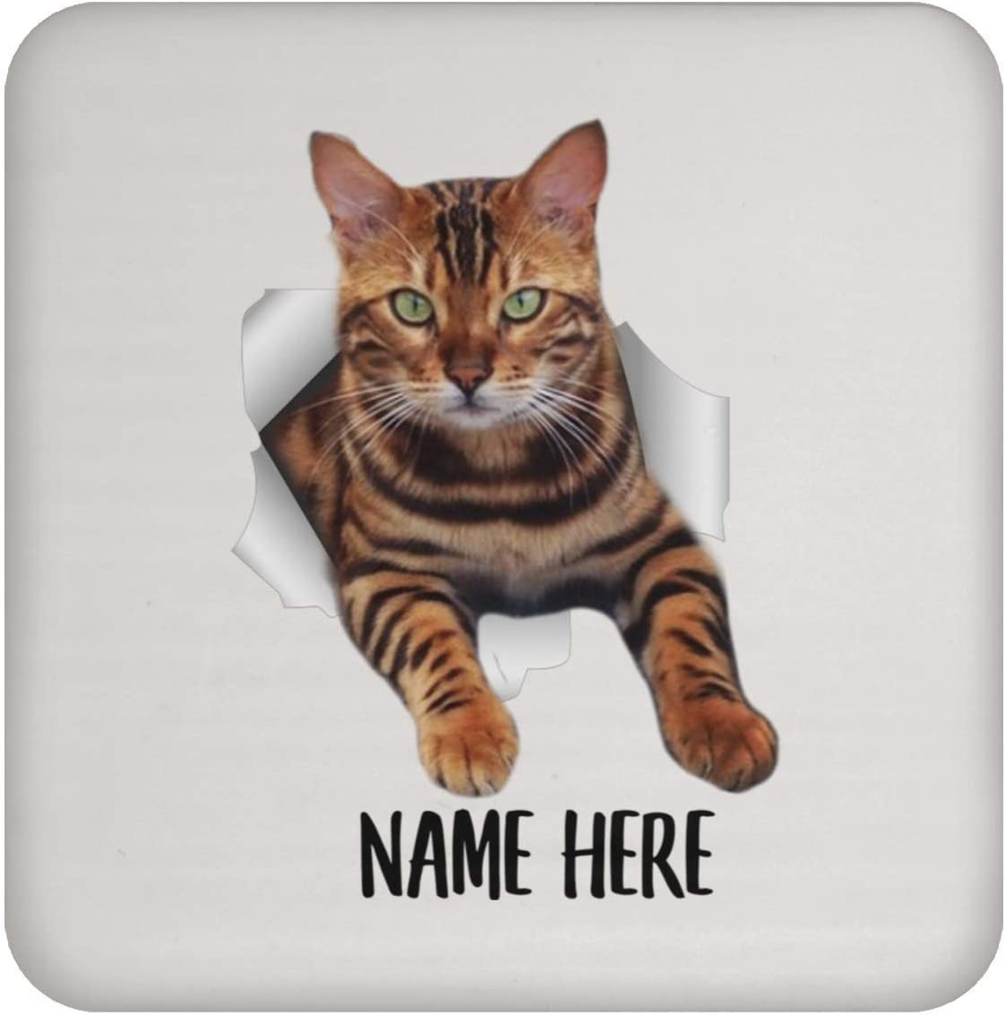 Funny Personalized Bengal Cat Brown Custom Name White Coaster