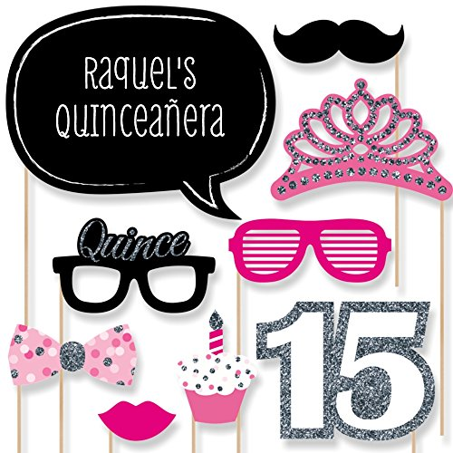 Custom Quinceanera Pink Birthday Party Photo Booth Props Kit - Personalized Sweet 15 Party Decorations - 20 Selfie Props