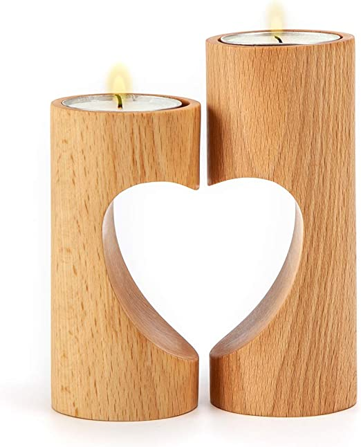 Set of 2 Handmade Heart Shaped Wooden Tea Light Holders Rustic Gift Idea Natural