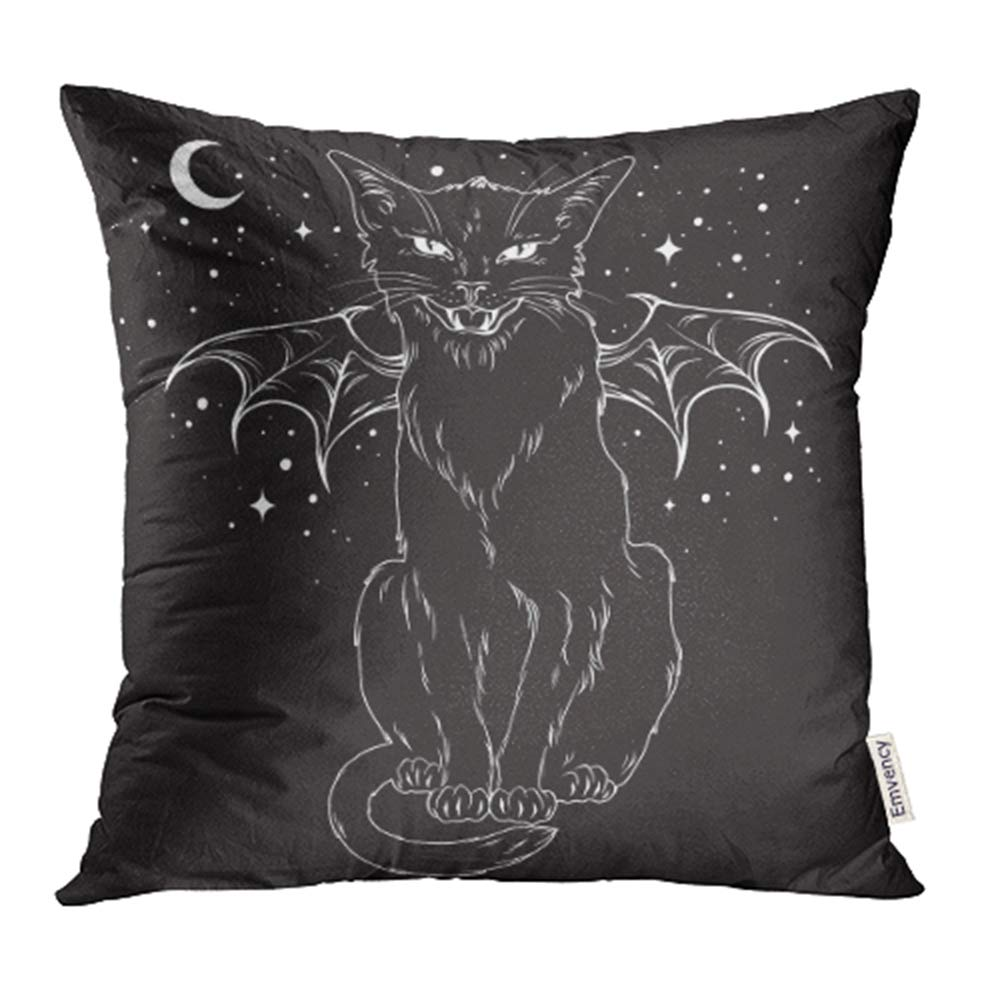 """Cats Moon and Stars Black Grey Cushion Cover 16/"""" x 16/"""""""