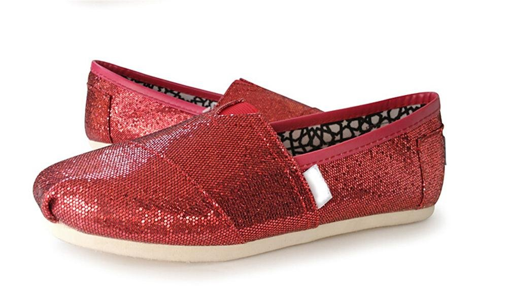 Playworld Womens Classic Sequin Slip On Shoes Ballerina Ballet Flats Loafers B01BS50J8S 8.5 B(M) US|Red