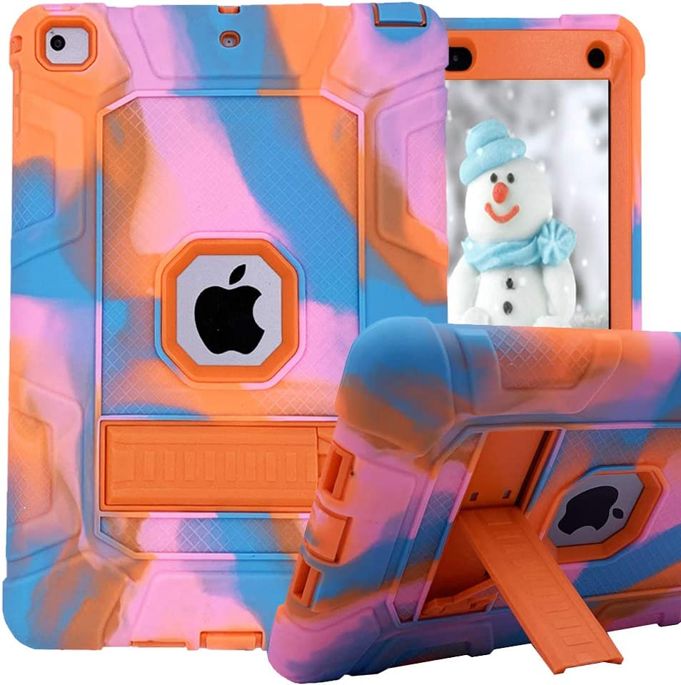 iPad 6th Generation Cases, iPad 2018 Case, iPad 9.7 Inch Case,Hybrid Shockproof Rugged Drop Protection Cover Built with Kickstand for New iPad 9.7 inch A1893/A1954/A1822,/A1823 (Pink Camo+Orange)