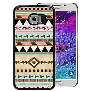A-type Arte & diseño plástico duro Fundas Cover Cubre Hard Case Cover para Samsung Galaxy S6 EDGE (NOT S6) (Native American Winter Christmas Pattern)