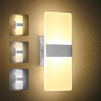 para iluminaci/ón interior sala de estar 3000 K dise/ño simple decoraci/ón L/ámpara de pared LED de 5 W luz blanca c/álida dormitorio no regulable y no impermeable