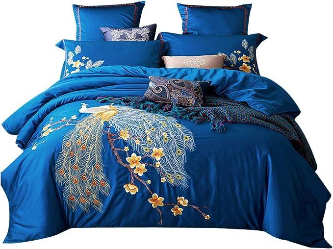 50x75 Peacock Blue Hotel Paramount Pillow Cases Egyptian Cotton White