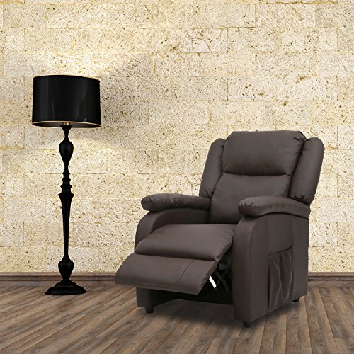 Kinbor Electric Massage Recliner Sofa Chair Heated Ergonomic Couch W/Control (brown)