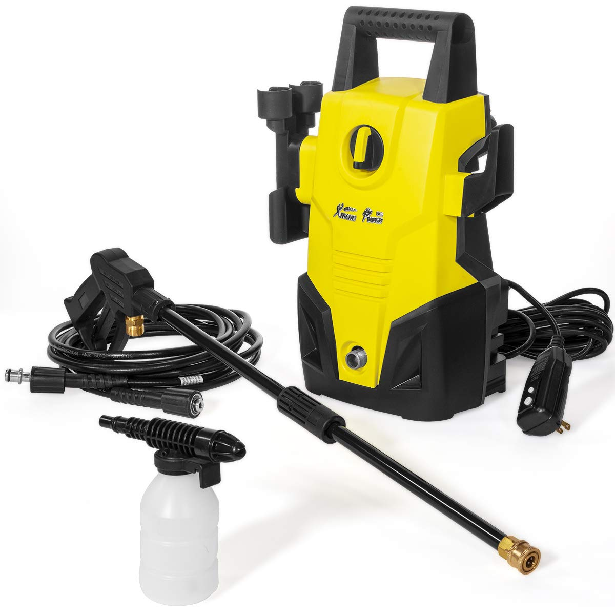 XtremepowerUS 61032 Jet 1300 PSI 1.2 GPM Sprayer Mini Electric Pressure Washer Cleaner Machine Soap Dispenser, Yellow