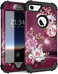Hocase iPhone 8 Case iPhone 7 Case, Shockproof Protection Heavy Duty Hard Plastic+Silicone Rubber Bumper Full Body Protective Case for iPhone 8, iPhone 7 (4.7-Inch Display) - Burgundy Flowers