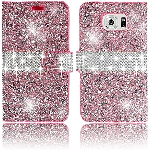 Galaxy S7 Case,Vandot Diamond Shiny Sparkle Crystal Rhinstone Wallet Case [Credit Card Holder] PU leather Magnetic Flip Folio Stand Shock-Absorbing Practical Sales