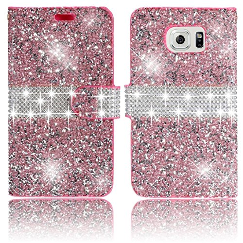 Galaxy S7 Edge Case,Vandot Diamond Shiny Crystal Rhinstone Wallet Case [Credit Card Holder] PU leather Magnetic Flip Stand Shock-Absorbing Practical Cover Skin For Samsung Galaxy S7 Edge 2016-Pink