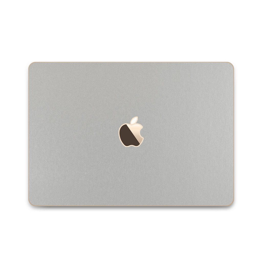 iCarbons Brushed Aluminum Vinyl Skin for MacBook 12'' Retina (Early 2015-Current) Full Combo