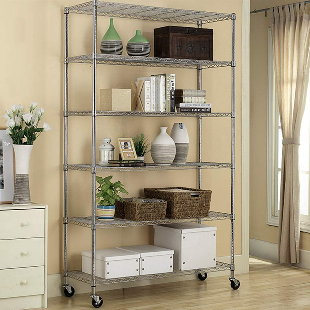 Home & Kitchen 6 Tier Wire Shelving Unit with wheels Metal Shelf ...