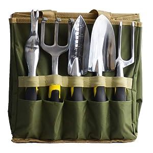 scuddles Garden Tools Set - 7 Piece Heavy Duty Gardening Tools with Storage Organizer, Ergonomic Hand Digging Weeder, Rake, Shovel, Trowel, for Men & Women
