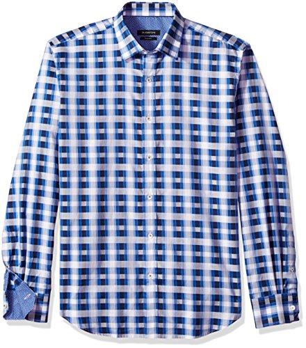 - Bugatchi Men's Long Sleeve Trim Fit Windowpane Check Cotton Shirt, Classic Blue, S