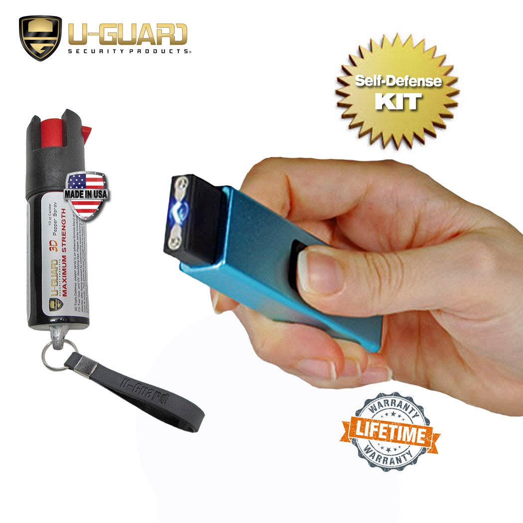 Mini Keychain Taser Slider Stun Gun Pepper Spray Self Defense Kit. Personal Non Lethal Weapons For Women Or Men. High Volt Rechargeable USB Pocket Tazer & Key Ring Strongest OC Defence Spray (BLUE)
