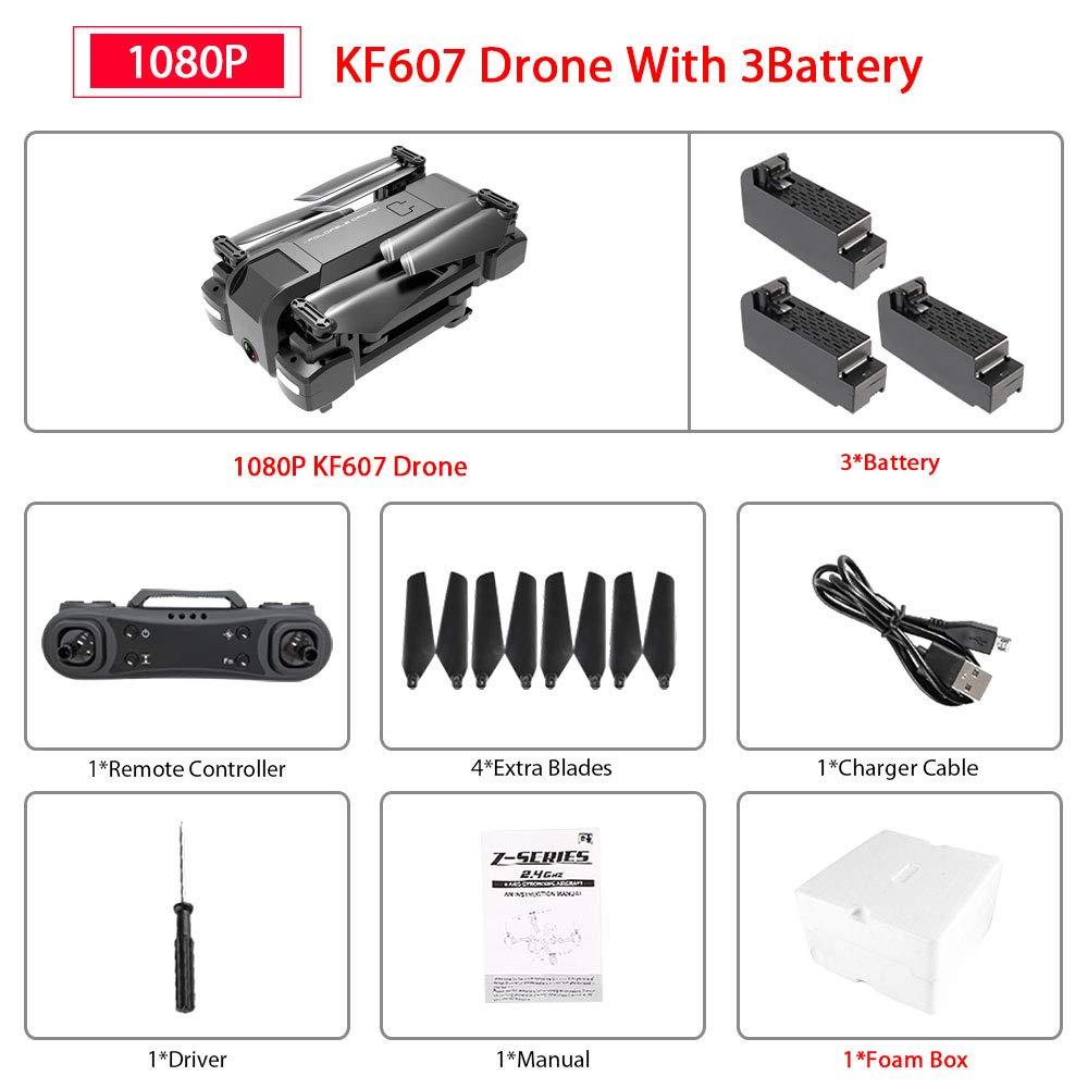 4k 3b With sac  ETC KART Le Plus récent 607 quadrirougeor avec WiFi FPV 4 K 1080 P HD Double caméra Flux Optique Selfie Drone Pliable Mini Dron VS SG106 visuo xs816 (4K 1B with sac)