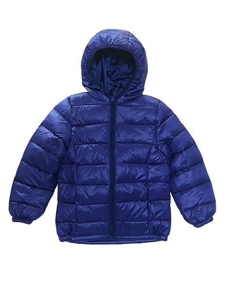 BESBOMIG Unisex Abajo Chaqueta Invierno Chaqueta con Capucha de Niños - Ligero Calentito Impermeable Abrigo Down Jacket para Niño Niña