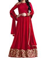 Ethnic Yard Red Faux Georgette Women's Unstitched Suit Set (Ey-F1123_Free Size)