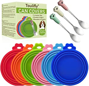 TOULIFLY Pet Food Can Covers, Can Covers for Pet Food Cans, Universal Size, 6 Pcs Silicone Pet Can Covers & 3 Pcs Pet Spoons, Pet Food Can Cover Universal Silicone Cat Dog Food Can Lids