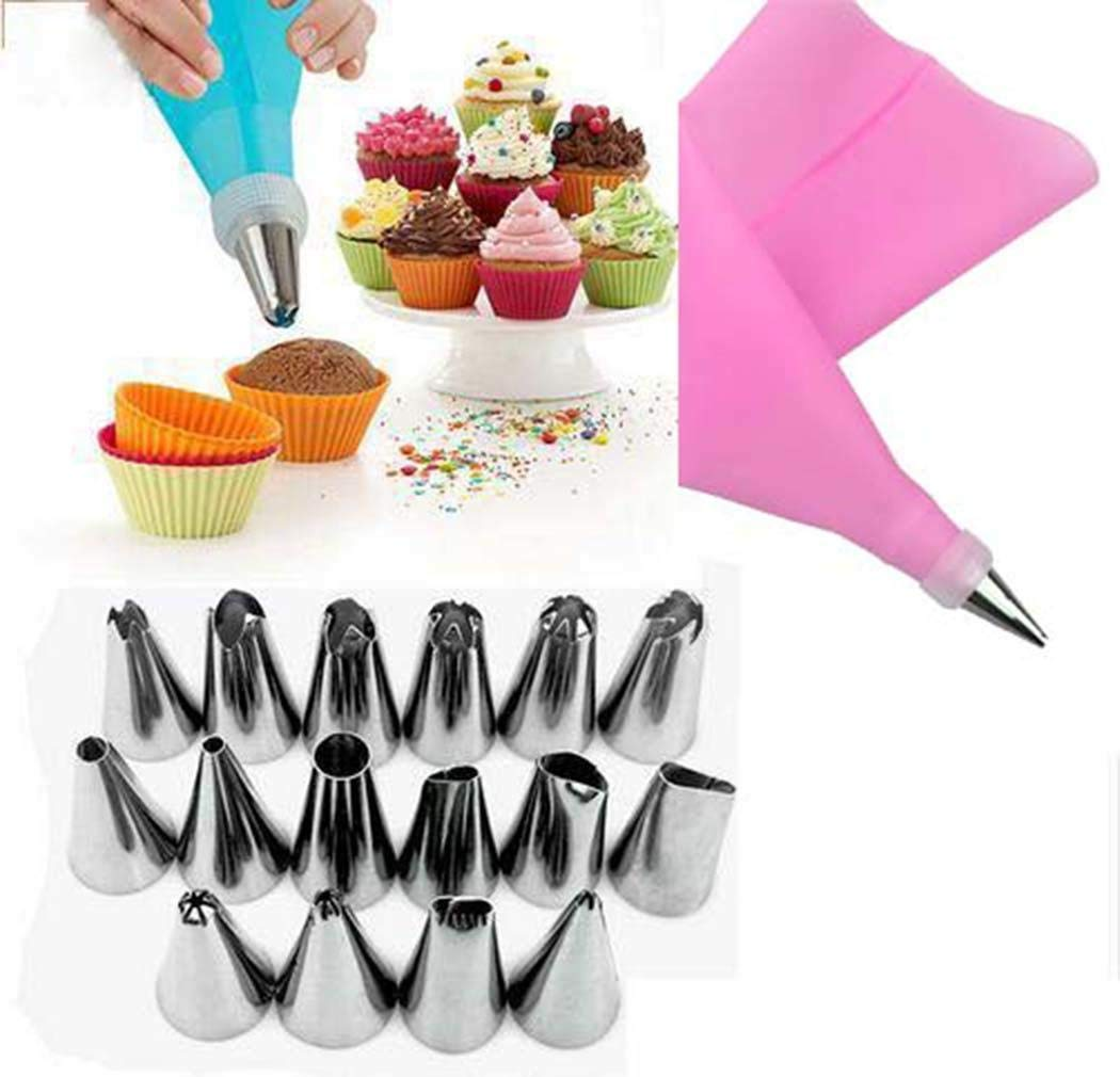 Cibenid 18Pcs Baking Tool Stainless Steel Cream Forcing Icing Mounted Set Candy Making Molds