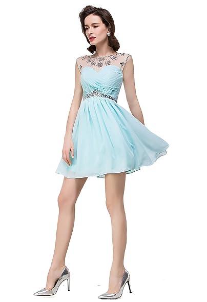 Chiffon Cheap Homecoming Dresses New Short Party Dresses For Teens,Aqua,6