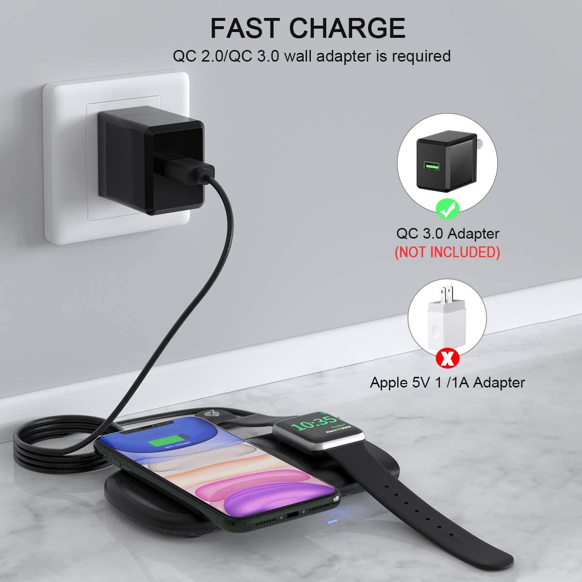 Wireless Charger HoRiMe 2 in 1 Wireless Charging Station for iWatch 5//4//3//2//1 10W Fast Charger for iPhone 11//11 Pro Max//XR//XS Max//XS//X//8//8P,Airpods Pro(Black)