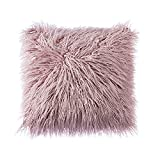Purple Throw Pillows OJIA Deluxe Home Decorative Super Soft Plush Mongolian Faux Fur Throw Pillow Cover Cushion Case (20 x 20 Inch, Purple)