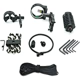 Archery Combo by HUELE, Upgrade Combo 5-pin Bow Sight with Sight Light, Arrow Rest, Stabilizer, Bow Sling, Peep Sight