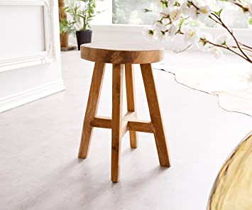 DELIFE Hocker Adela Teakholz Natur 30x30 cm Massivholz rund Handarbeit Sitzhocker