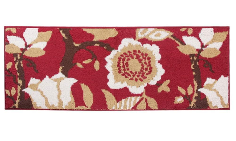 MustHome Kitchen Runner Rug/Mat Non Skid Rubber Backing Red Flower Design 18''x47'' Area Rug Perfect in Front of Sink and Stove Area