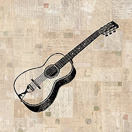 Acoustic Guitar Print Vintage Guitar Wall Art Illustration Music Poster Or  Print With A Vintage Stamps
