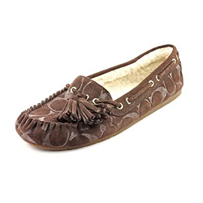 0b7fbf3ed82 Coach Women s Anita Signature Moccasin Slipper (Chestnut)