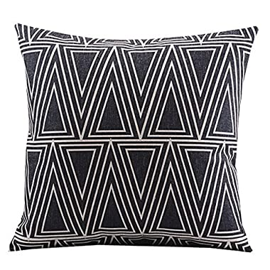 Create For-Life Cotton Linen Decorative Pillowcase Throw Pillow Cushion Cover Square 18  Retro Black Solid Triangle
