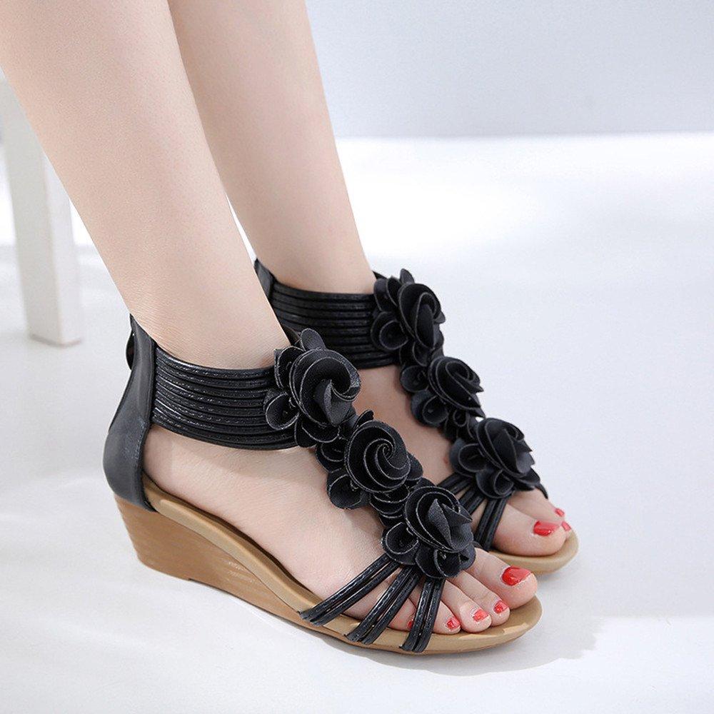 Sandales Bride Cheville Fille,LANSKIRT Chaussures d/Ét/é /à La Mod Sandales Compens/ées /à Fleurs Sandales De Plage De Vacances