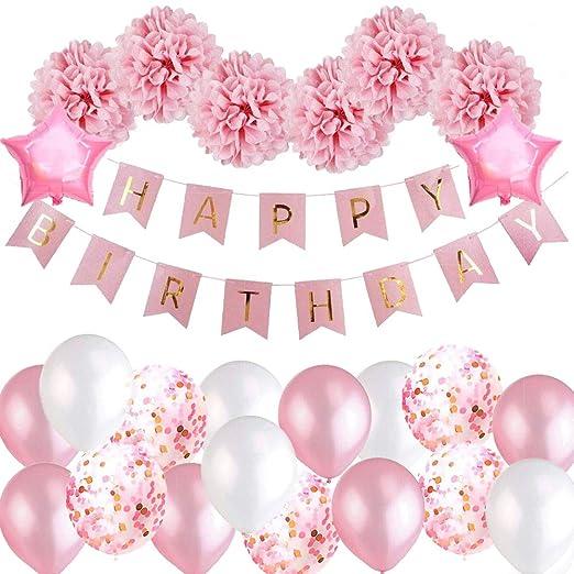 Coolba Primeras decoraciones de cumpleaños para niñas, rosa ...