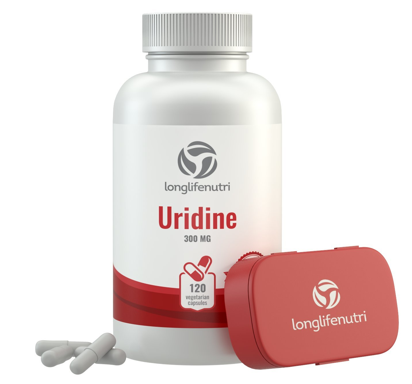 Uridine Monophosphate 300mg - 120 Vegetarian Capsules | Made In Usa | Choline Enhancer | Supports Cholinergic Brain & Memory Function | Helps Synapses Growth | 300 mg Pure Powder Pills Complex Formula by LongLifeNutri (Image #1)
