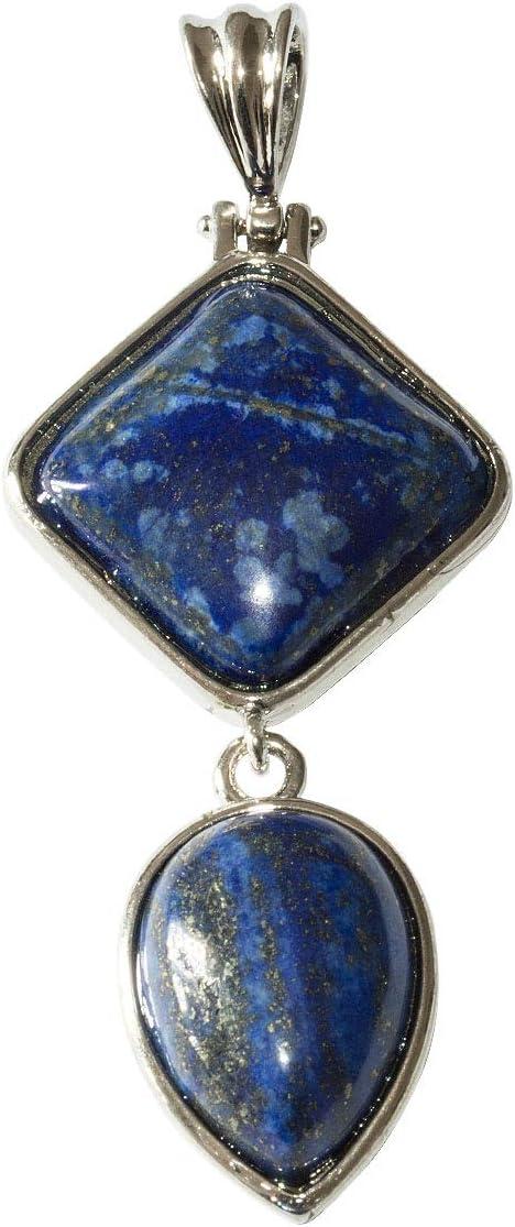 Beads Ok, Colgante Collar de Piedras Preciosas de Lapislázuli Natural 65mm x 1 Pieza .Combinación de rombo cuadrado y forma de lágrima invertida.
