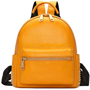 134e8d6d4d0c Amazon.com  Genuine Leather Backpack Purse For Women Fashion Casual Daypack  Ladies Rucksack - Yellow  iDo Retail Wholesale