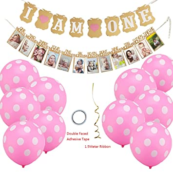 Baby First Birthday Decorations 14 Pieces BannerI AM ONEand 1