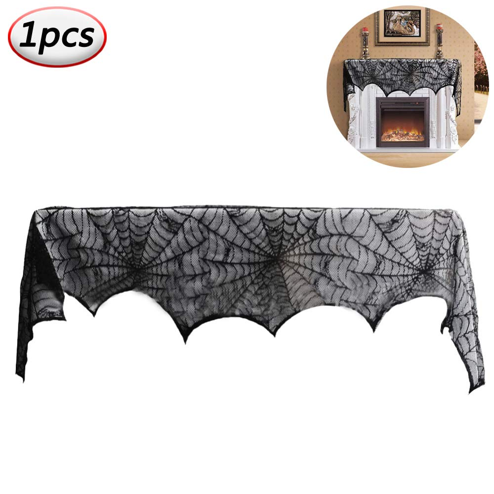 18 x 96 inch Cobweb Fireplace Scarf Black Spiderweb Mantle Lace Runner Fireplace Cover for Halloween Party Decoration Supplies Door Window Table Decoration Pro-Noke
