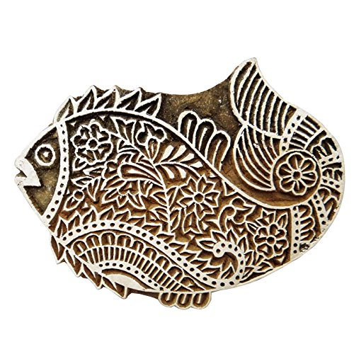 Handmade Wooden Block Textile Printing On Fabric Stamp Fish Design Fine - Block 5.6