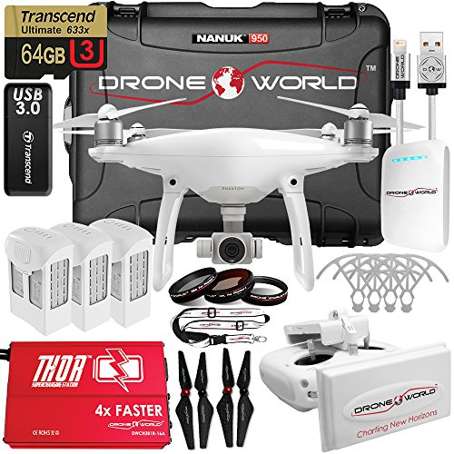 DJI Phantom 4 V2.0 Executive Kit Bundle with Long Range Extender System, Nanuk 950 Wheeled Case, 3 Batteries with Thor Super-Charger, Carbon Fiber Propellers, Prop Guards and More Accessories