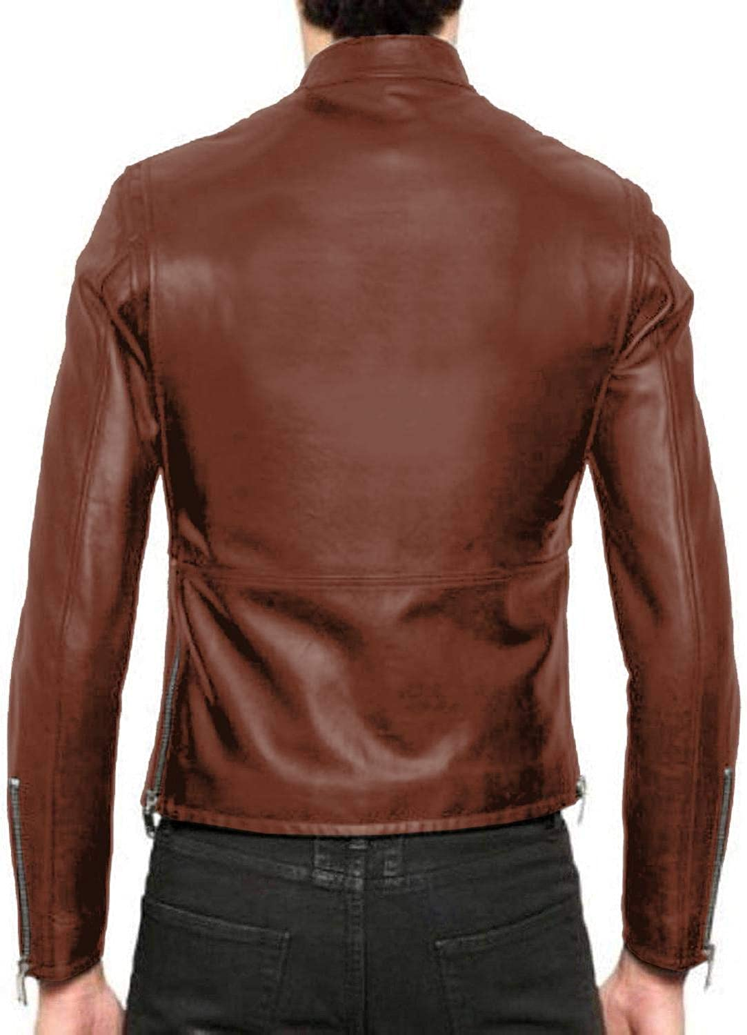 Lasumisura Mens Black Genuine Lambskin Leather Jacket 1510203