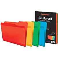 Pendaflex Reinforced File Folders, Extra Durable, Poly Reinforced Edges, Assorted Colors, Letter Size, 1/3 Cut Tabs, 24…