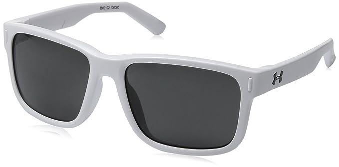 e71c58e37df0 Under Armour UA Rookie Wayfarer Sunglasses, UA Rookie Shiny White Frame /  Gray Lens, 51 mm: Amazon.co.uk: Clothing